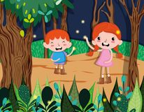 Cute kids at forest. Cute kids playing at forest vector illustration graphic design Royalty Free Stock Photography