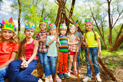 Cute kids playing Injuns at summer forest Royalty Free Stock Photography