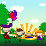 Cute kids playing outdoor Royalty Free Stock Photos