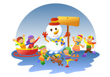 Cute kids playing winter games. EPS10 File - simple Gradients, no Effects, no mesh, no Transparencies.All in separate layer and group for easy editing Stock Photo