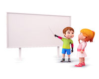 Cute kids pointing towards white sign Royalty Free Stock Images