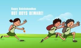 Cute kids for Raksha Bandhan celebration. Cute little boys running fast from a girl who wants to tying them rakhi, Creative illustration for Indian festival Stock Image