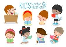 Cute kids reading books,cute children reading books, Happy Children while Reading Books, kids while Reading Books. Kids Reading Books Vector Illustration on Stock Photo