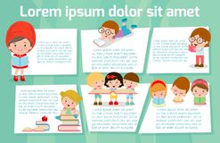 Cute kids reading books, Template for advertising brochure,your text, ready for your message. Vector illustration. Cute kids reading books, Template for Stock Images