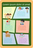 Cute kids reading books, Template for advertising brochure,your text, ready for your message. Vector illustration. Cute kids reading books, Template for Royalty Free Stock Photo