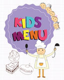 Cute kids restaurant menu with children cooks. Stock Photography