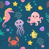 Cute kids sea pattern for girls and boys. Colorful underwater animals on navy background. Design elements for wallpaper. Baby shower invitation, birthday card stock illustration
