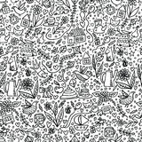 Cute Kids Seamless Pattern with Nice Things Stock Images