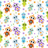 Cute kids seamless pattern robot rocket. Children endless background, texture, wallpaper. Vector illustration. Stock Photography