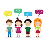 Cute kids sing a song stock illustration