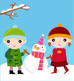 Cute kids and snowman Stock Photo
