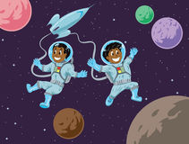 Cute kids in space Royalty Free Stock Photography