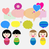 Cute kids with speech bubbles Royalty Free Stock Photography