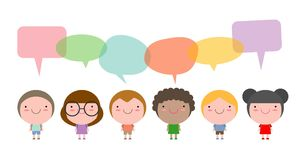 Cute kids with speech bubbles,Set of diverse children and Different nationalities with speech bubbles isolated on white background Stock Images