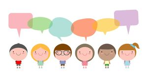Cute kids with speech bubbles,Set of diverse children and Different nationalities with speech bubbles isolated on white background Royalty Free Stock Photography