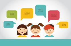 Cute kids with speech bubbles Stock Images