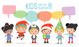 Cute kids with speech bubbles on white background, stylish children Christmas Costumes with speech bubble, children talking with s royalty free illustration