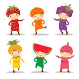 Cute kids in strawberry, orange, grape, pine apple, watermelon a Royalty Free Stock Photography