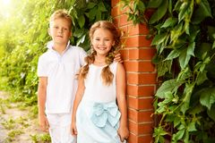 Cute kids in summer stock photo