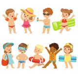 Cute Kids Toons Are Having Fun On The Beach. Kids that are out on the beach enjoying the summer sun. Some of them are going for a swim, one is spreading sun Stock Images