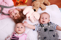 Cute kids with toys Royalty Free Stock Photos