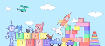 Cute kids toys banner with set of different toys for boys and girls . eps10  illustration. Coloring book with set of different toys for boys and girls Stock Images
