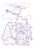 Cute kids toys, coloring page illustration. Coloring book with set of different toys for boys and girls  on white backgrou. Coloring book with set of different Royalty Free Stock Photography
