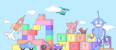 Cute kids toys shop banner with set of different toys for boys and girls isolated. Vector background eps10 illustration. Set of different toys for boys and Royalty Free Stock Photo