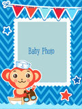 Cute Kids Vector Photo Frame. Cartoon Monkey Vector Illustration. Decorative Cartoon Template For Baby. Royalty Free Stock Photography
