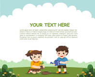 Cute kids volunteers planted and watering young trees. For Save Earth. Template for advertising brochure Royalty Free Stock Photography