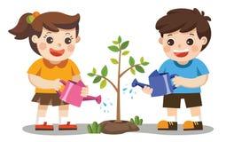 Cute kids volunteers planted and watering young trees. Isolated vector. Cute kids volunteers planted and watering young trees. Save The Earth Stock Images