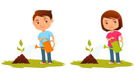 Cute kids watering plants Stock Photography