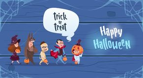 Cute Kids Wear Monsters Costume, Happy Halloween Banner Party Celebration Concept. Flat Vector Illustration Royalty Free Stock Photos