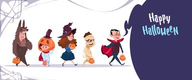 Cute Kids Wear Monsters Costume, Happy Halloween Banner Party Celebration Concept. Flat Vector Illustration Stock Images