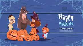 Cute Kids Wear Monsters Costume, Happy Halloween Banner Party Celebration Concept. Flat Vector Illustration Royalty Free Stock Photography