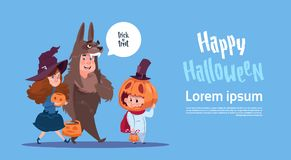 Cute Kids Wear Monsters Costume, Happy Halloween Banner Party Celebration Concept. Flat Vector Illustration Royalty Free Stock Images