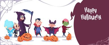 Cute Kids Wear Monsters Costume, Happy Halloween Banner Party Celebration Concept. Flat Vector Illustration Stock Image