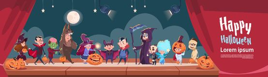 Cute Kids Wear Monsters Costume, Happy Halloween Banner Party Celebration Concept. Flat Vector Illustration royalty free illustration