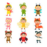 Cute Kids Wearing Animal Costumes Stock Photo