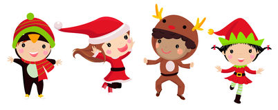 Cute kids wearing Christmas costumes Stock Photo