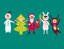 Cute kids wearing Christmas costumes vector characters  Stock Photography
