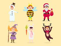 Cute kids wearing Christmas costumes vector characters little people  cheerful children holidays illustration Royalty Free Stock Image