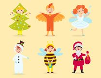 Cute kids wearing Christmas costumes vector characters little people  cheerful children holidays illustration Stock Photos