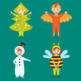 Cute kids wearing Christmas costumes vector characters little people isolated cheerful children holidays illustration. Childhood fun cartoon happiness present Royalty Free Stock Photography