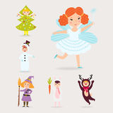 Cute kids wearing Christmas costumes vector characters little people isolated cheerful children holidays illustration Royalty Free Stock Image