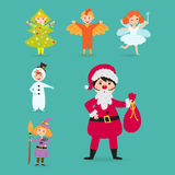 Cute kids wearing Christmas costumes vector characters little people isolated cheerful children holidays illustration Royalty Free Stock Photo