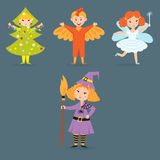 Cute kids wearing Christmas costumes vector characters little people isolated cheerful children holidays illustration Stock Photos