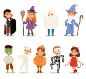 Cute kids wearing Christmas costumes vector. Stock Photography