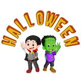 Cute kids wearing halloween costumes vector illustration