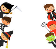 Cute kids wearing Halloween monster costume Stock Photo